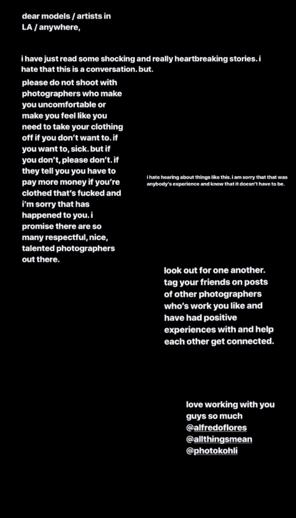 a message to all artists or models harassed by photographers